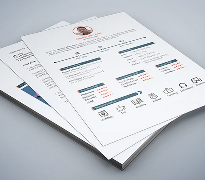 this three page resume template in psd is designed to put emphasis on