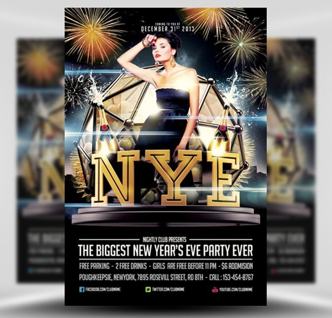 free new years eve psd flyers