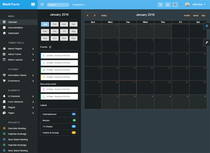 "Simple Bootstrap Dashboard Admin Template - ""MonsterAdmin"" - calendar"