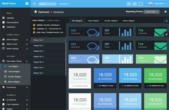 "Simple Bootstrap Dashboard Admin Template - ""MonsterAdmin"" - information panels"