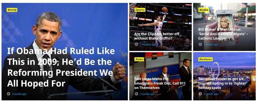 WordPress magazine theme featured posts block widget