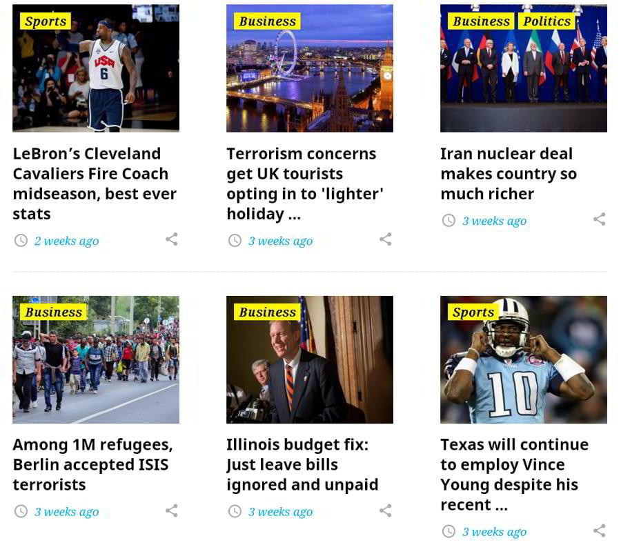 WordPress magazine theme image grid widget