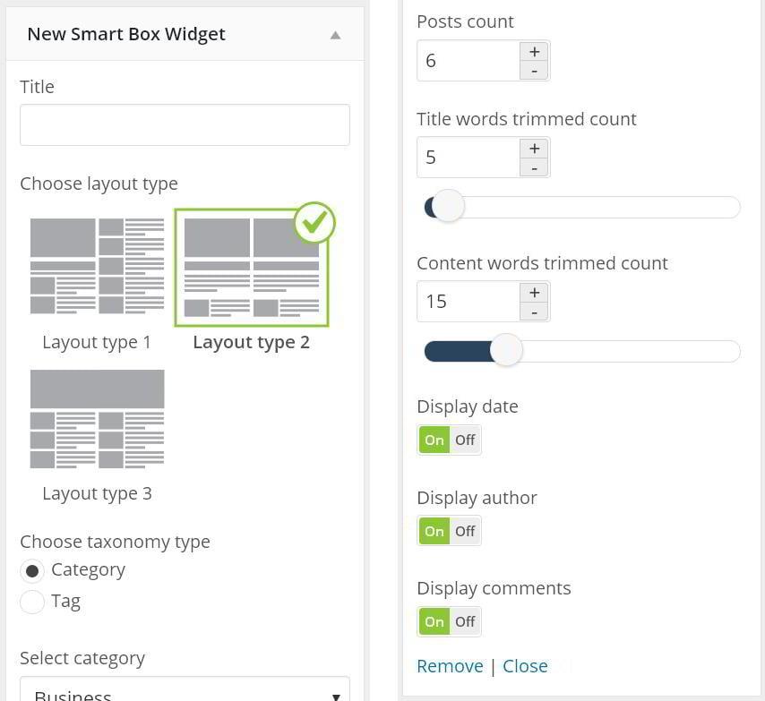 Smart box admin options