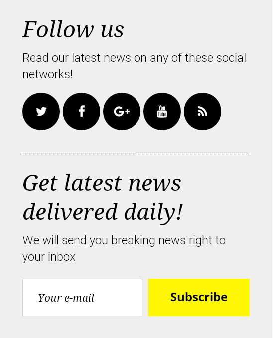 Social widget with follow buttons