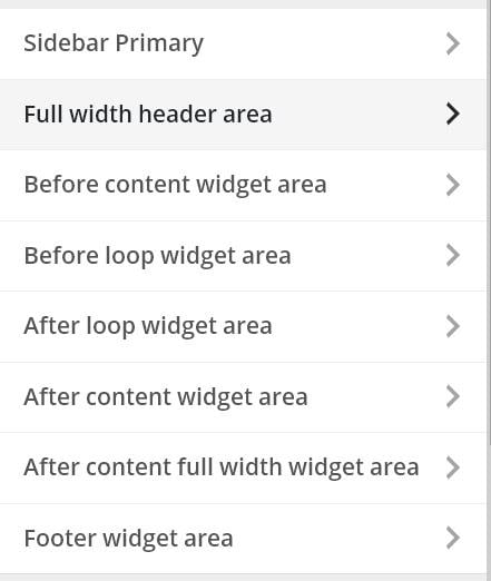Available widget areas