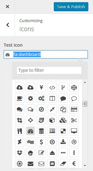 WP Customizer custom control icon picker