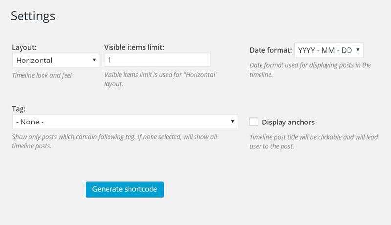 Settings page of the plugin