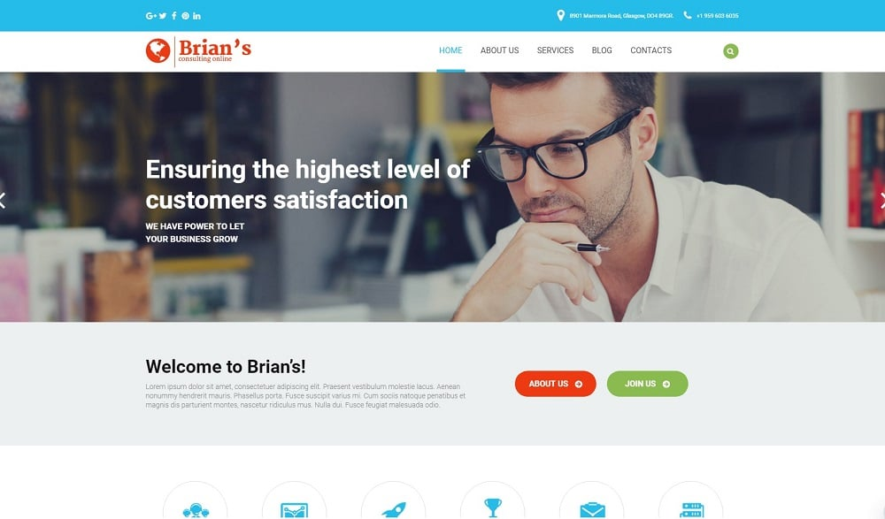 Brian's - Consulting Multipurpose Classic Elementor WordPress Theme