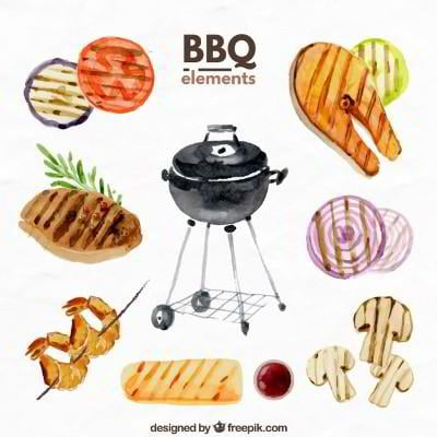 watercolor barbecue objects