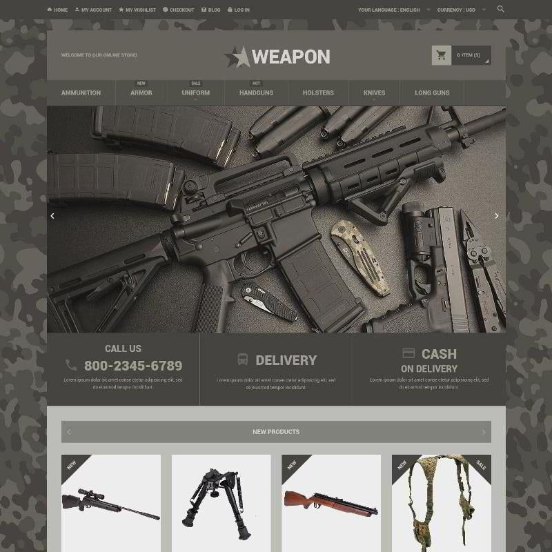 Online Weapon Store Magento Theme