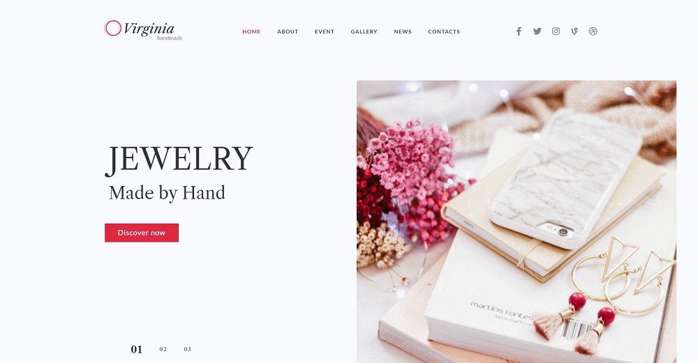 Virginia - Website Template for Handmade Jewelry with Elementor Builder WordPress Theme