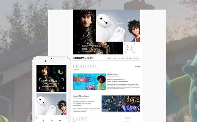 Cartoon blog WordPress theme
