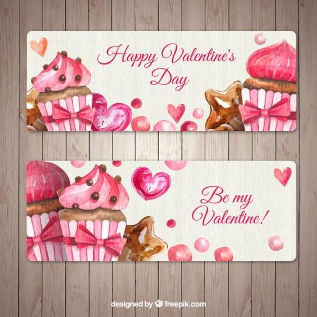 awesome-banners-with-cupcakes-for-valentines-day-free-vector-by-freepik