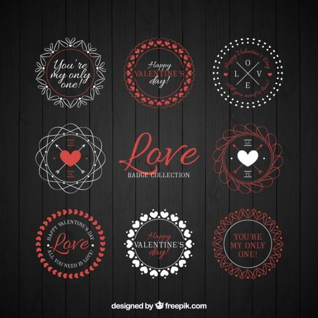 collection-of-geometric-valentine-stickers-free-vector-by-freepik