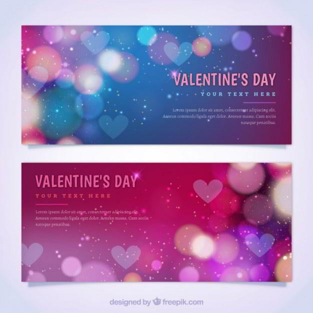 colorful-valentines-day-banners-with-bokeh-effect-free-vector-by-freepik