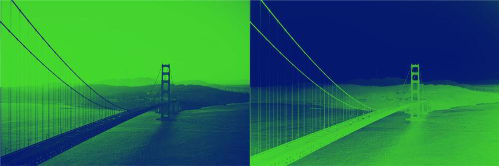 A duotone effect with an inverted color scheme
