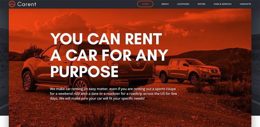 A saturated colorized effect applied in a car rental services template