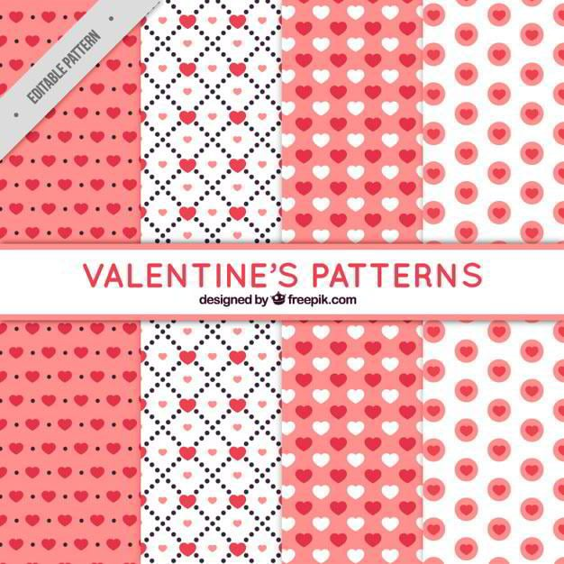 flat-collection-of-pink-and-white-patterns-for-valentines-day-free-vector-by-freepik