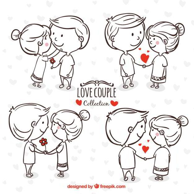 hand-drawn-young-couple-in-romantic-moments-free-vector-by-freepik