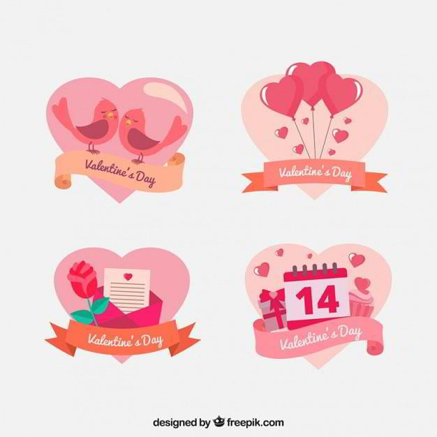 pack-of-pretty-heart-shaped-valentine-stickers-free-vector-by-freepik