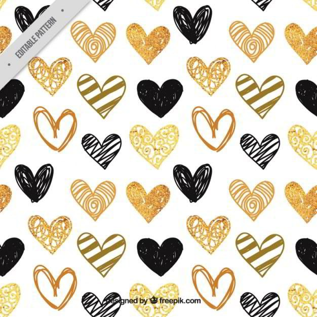 pattern-of-hand-painted-golden-and-black-hearts-free-vector-by-freepik