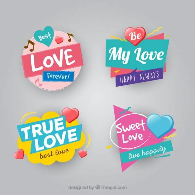 set-of-four-geometric-love-badges-free-vector-by-freepik