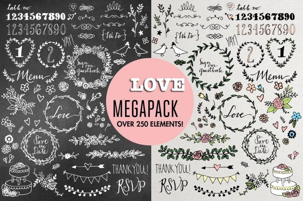 Love Megapack: over 250 vector elements