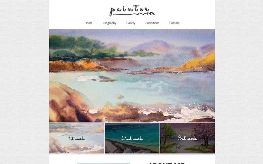 A responsive website template for a painter's personal page