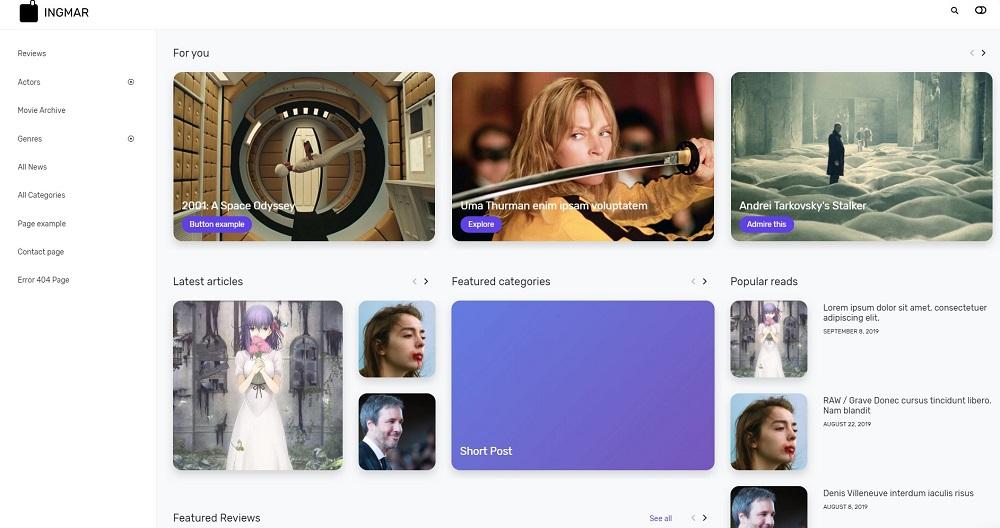 INGMAR - Movie News, Reviews, Blog and Database WordPress Theme
