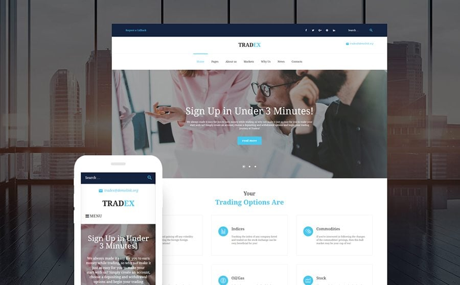 Tradex - Forex Trading WordPress Theme
