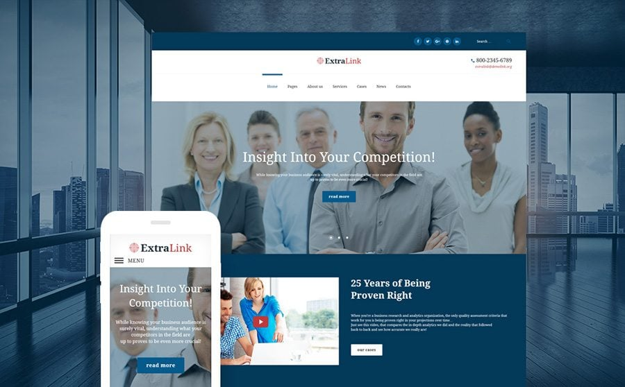 ExtraLink - Business Research and Analytics Agency WordPress Theme