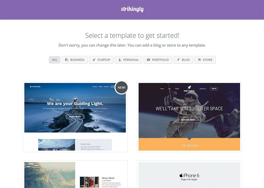 Strikingly template collection