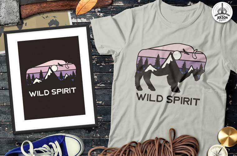 Buffalo Design - Wild Spirit T-shirt.
