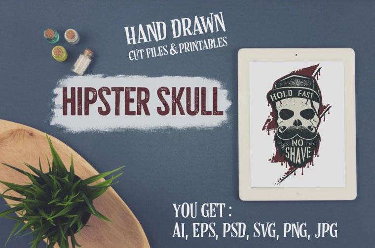 Hipster Skull Design. Vector SVG T-shirt