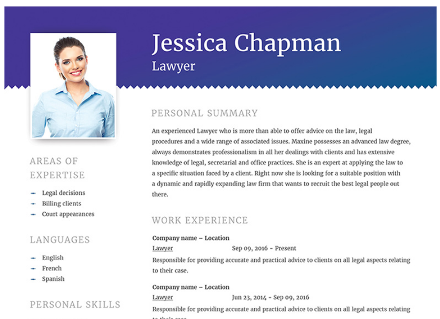 Jessica Chapman - Lawyer CV Resume Template