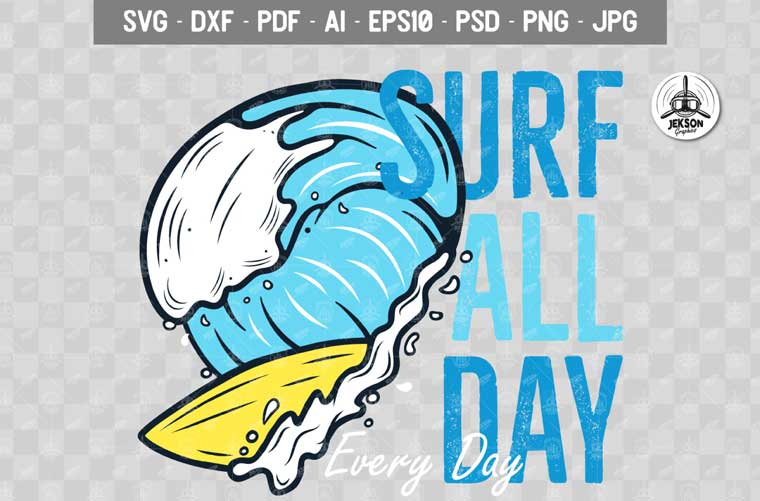 Surf Adventure Print Summer Badge T-shirt.