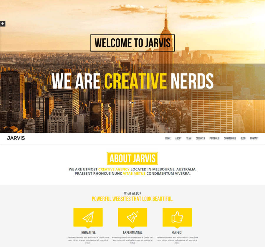 jarvis one page parallax wordpress theme
