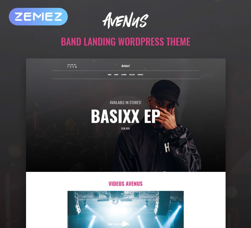 Avenus - Music One Page Modern Elementor WordPress Theme