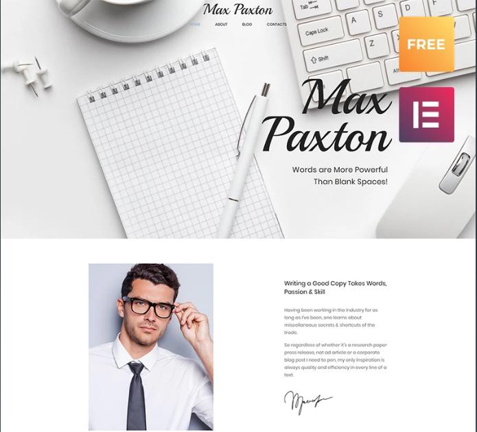 Copywriter Personal Website Free WordPress Theme - Max Paxton Lite