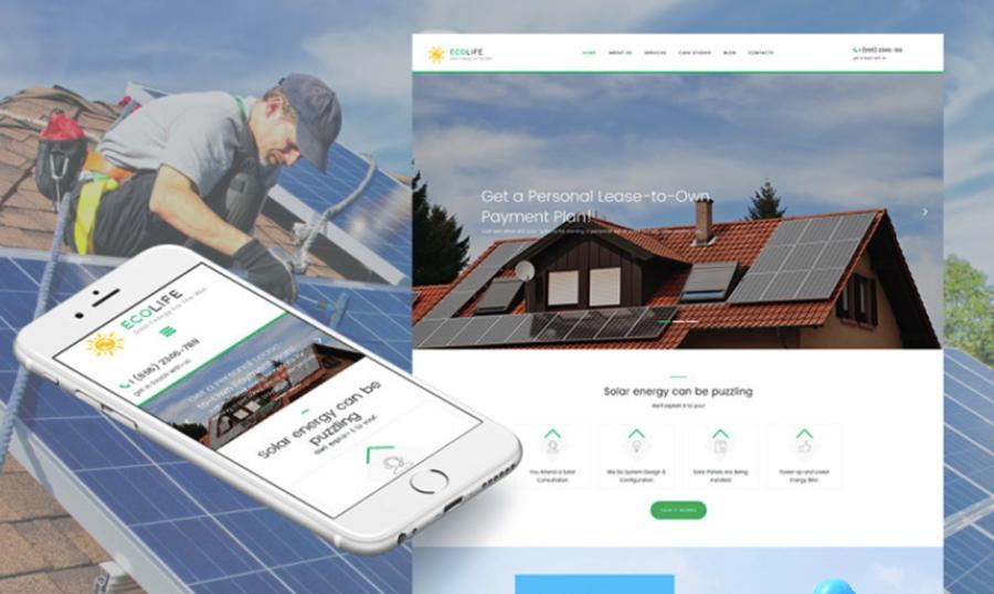 EcoLife Solar Power Responsive Moto CMS 3 Template