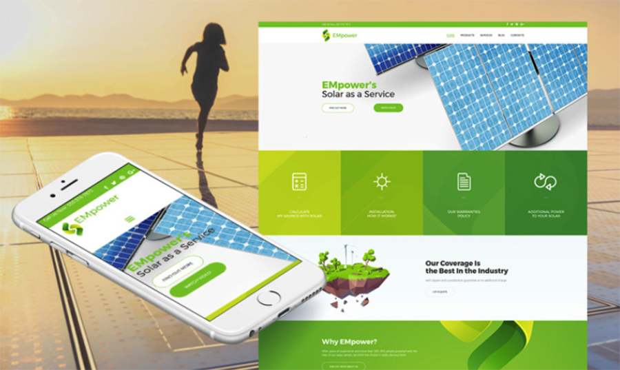 Solar Power Responsive Moto CMS 3 Template