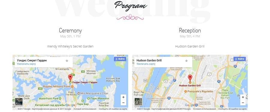 Adding maps to marriage invitation image
