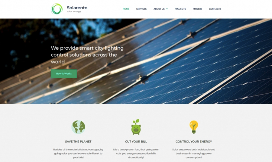 Solar Energy Premium Moto CMS 3 Template