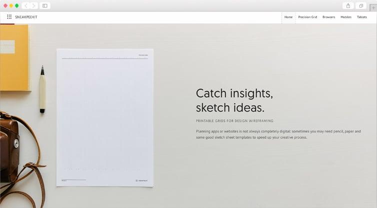 Sneakpeekit | Printable Sketch Sheets for Design Wireframing