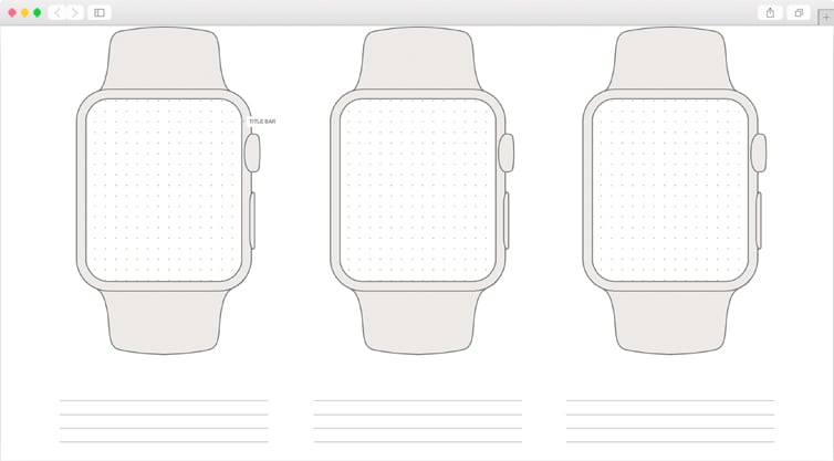 Dribbble   Free Apple Watch Wireframe Template - Printable
