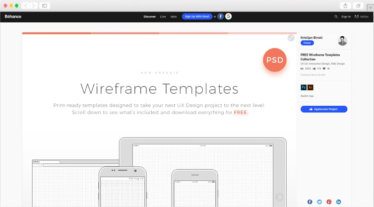 Behance   FREE Wireframe Templates Collection