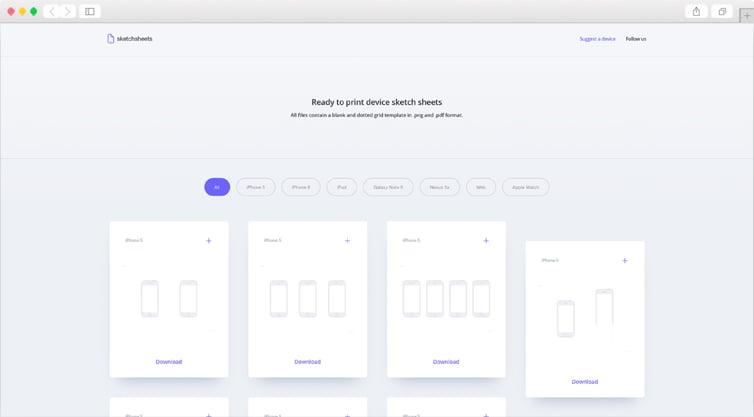 SketchSheets | Printable device sketch sheet templates for UI & UX designers