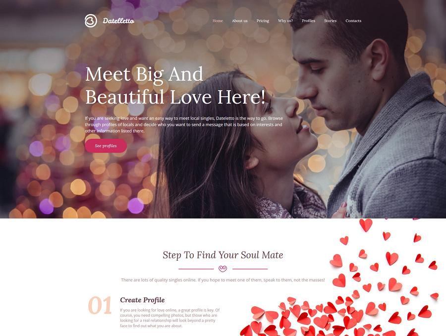 Dating Premium MotoCMS 3 Template