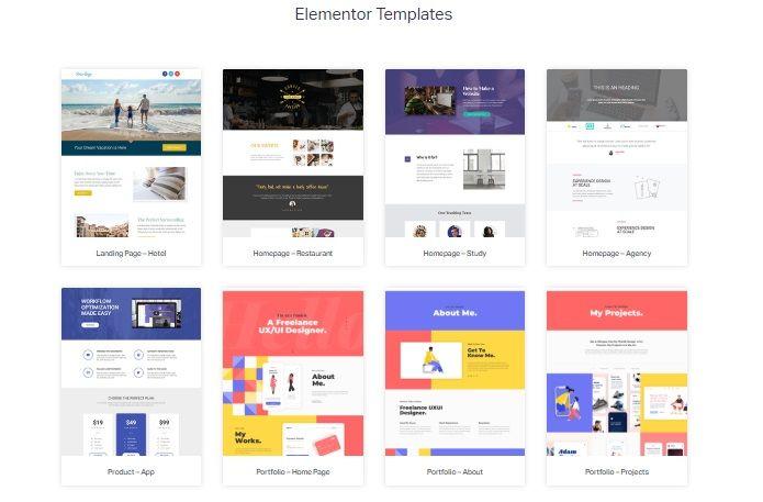 Elementor templates.