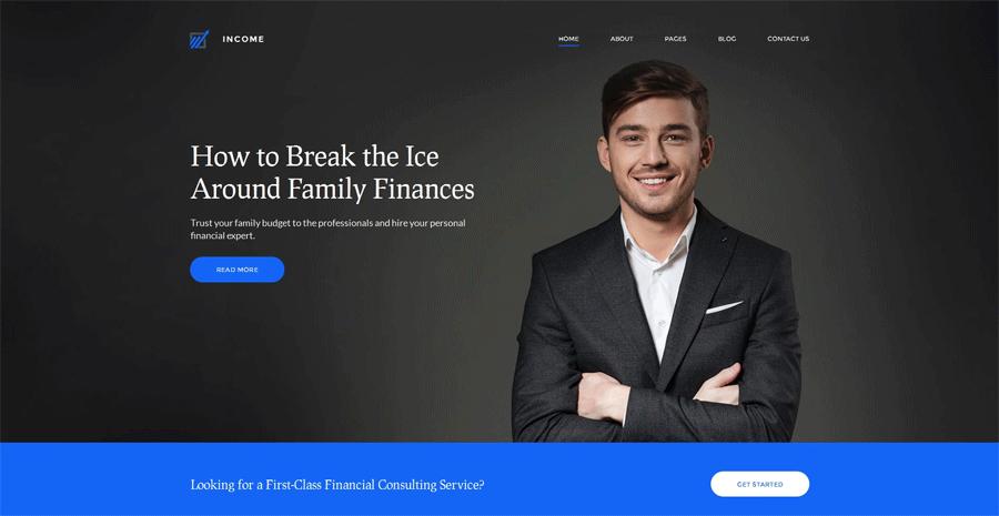 Financial website builder themes